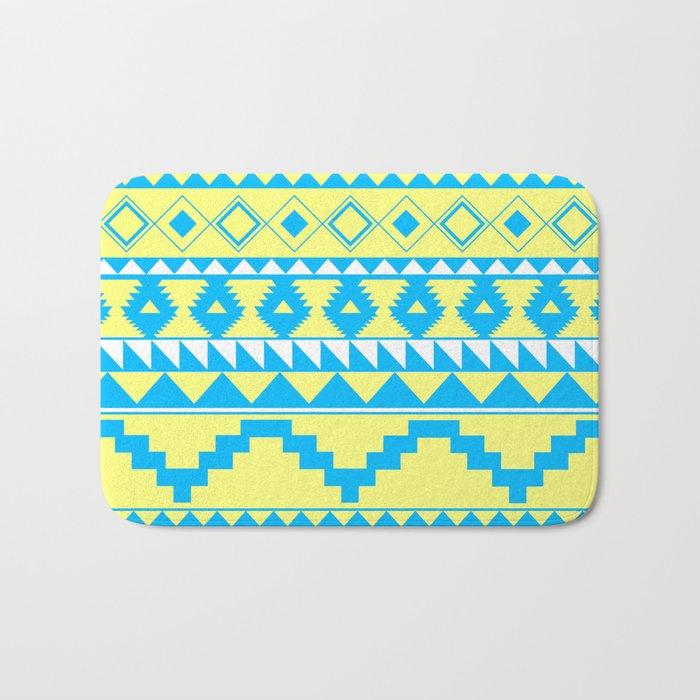 Aztec Pattern 2 Blue & Yellow Bath Mat