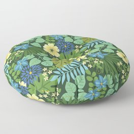 Tropical Blue and Yellow Floral Floor Pillow