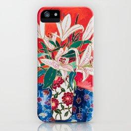 Blush Lily Bouquet on Orange iPhone Case