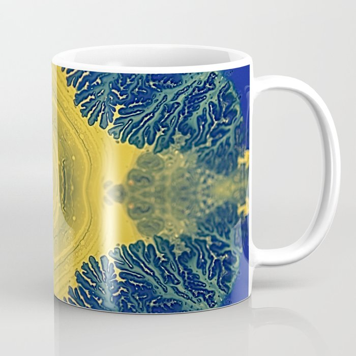 Agate Queen - Blue Yellow Botanical Moss Marble Coffee Mug