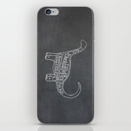 "Brontosaurus Dinosaurus (A.K.A Apatosaurus ""Big Cow"") Butcher Meat Diagram iPhone Skin"