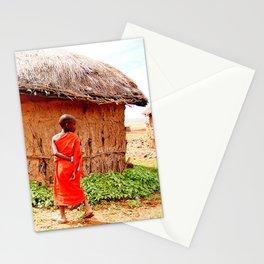 Tanzania - Maasai Boy Walking Stationery Cards