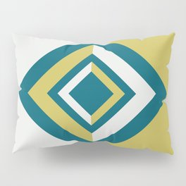 Tropical Dark Teal Inspired by Sherwin Williams 2020 Trending Color Oceanside SW6496 Dark Yellow and Off White Geometric Shapes Diamond Minimal Illustration Pillow Sham