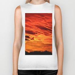Flame Coloured Sunset Sky Biker Tank