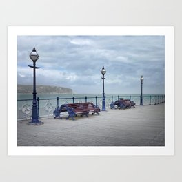 Lamps And Benches On Swanage Pier Art Print