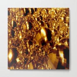 Gold Christmas Ornaments Metal Print