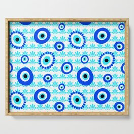 Evil Eye Charms Blue and White Pattern Serving Tray