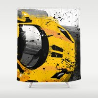 senna Shower Curtains featuring McLaren MP4 12C by Michele Leonello