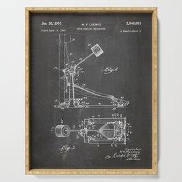 Drum Pedal Patent - Drum Set Art - Black Chalkboard Serving Tray