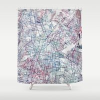 mexico Shower Curtains featuring Mexico map by MapMapMaps.Watercolors