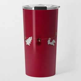 Christmas Decorations on Red (Color) Travel Mug
