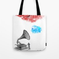 record Tote Bags featuring Record by Evan Abramsky