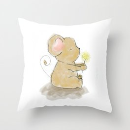 Little brown mouse with dandilion Throw Pillow