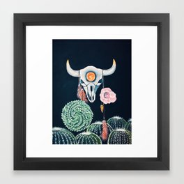 Cow Skull and Cacti on a Wolf Blood Moon Framed Art Print