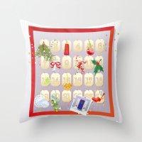 calendar Throw Pillows featuring  Advent Calendar by rusanovska