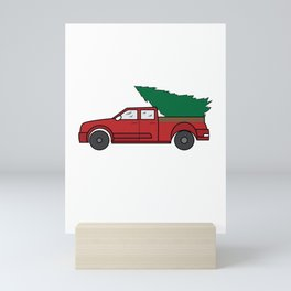 """Funny and cute """"Santa's Jeep Christmas Tree"""" Makes a nice and awesome gift for everyone this holiday Mini Art Print"""