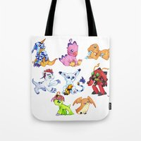 digimon Tote Bags featuring Digimon Group by Catus