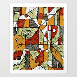 Multicolored Abstract Tribal Print Art Print