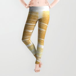 Abstract faux gold white modern paint brushstrokes Leggings