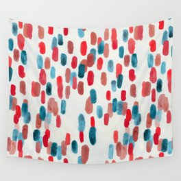 Watercolor Ovals - Red, Blue & Cream Wall Tapestry