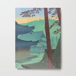Asano Takeji Japanese Woodblock Print Vintage Mid Century Art Teal Turquoise Sunrise Shrine Metal Print