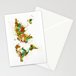 Map of the World watercolor Stationery Cards