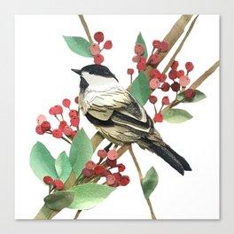 Berry Nice Chickadee Canvas Print
