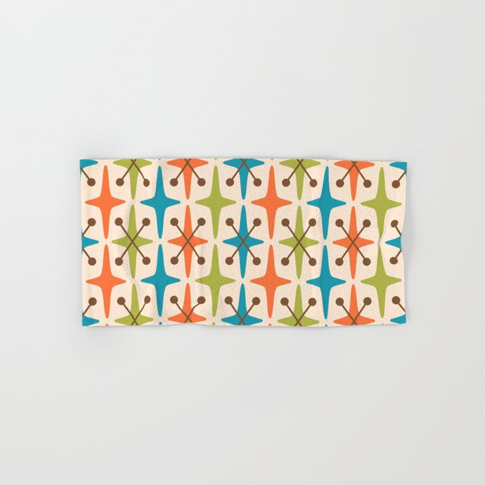 Mid Century Modern Abstract Star Pattern 441 Orange Brown Turquoise Chartreuse Hand & Bath Towel