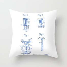 Fire Sprinkler Head Closure Plug Vintage Patent Hand Drawing Throw Pillow