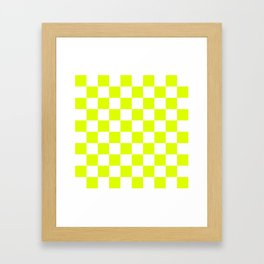 Chartreuse Checkers Pattern Framed Art Print