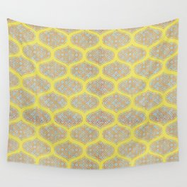 Garden Charm IV:  Floral Geometric in Yellow and Blue Wall Tapestry