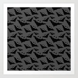Cool gray black Flying bats Halloween pattern Art Print