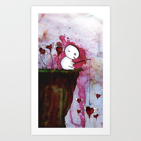 Fishing for hearts Art Print