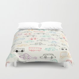Hand drawn vehicles doodle pattern Duvet Cover