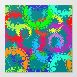 Texture of bright blue gears and laurel wreaths in kaleidoscope rainbow style. Canvas Print