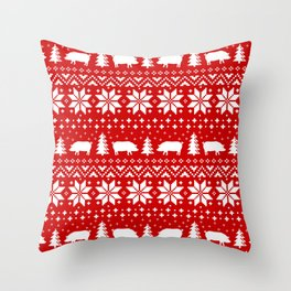 Pig Silhouettes Christmas Sweater Pattern Throw Pillow