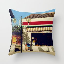 French Village Bakery Throw Pillow
