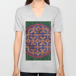 Song for Creativity - Traditional Shipibo Art - Indigenous Ayahuasca Patterns Unisex V-Neck