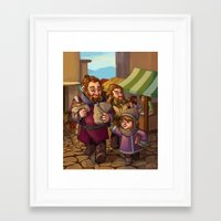 nori Framed Art Prints featuring Brothers Ri Market Day by Hattie Hedgehog