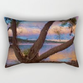Ozark Sunrise Digital Watercolor Pastels Painting Rectangular Pillow