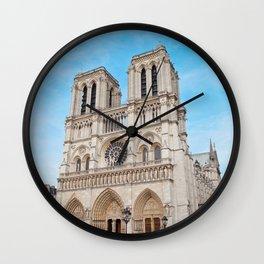 France Photography - Cathédrale Notre-Dame De Paris Under The Blue Sky Wall Clock