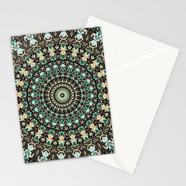 Gold Wire Mandala in Turquoise Blue, Green, and Rust Stationery Cards