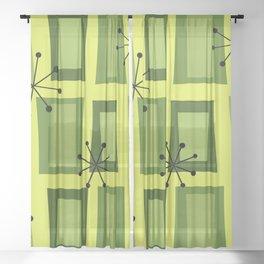 Mid Century Modern Art 'Wonky Doors' Chartreuse Sheer Curtain