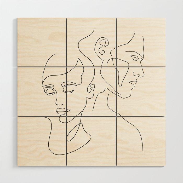 Couple Minimal Line Wood Wall Art