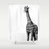 giraffe Shower Curtains featuring Ornate Giraffe by BIOWORKZ