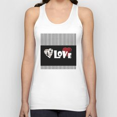 Valentine's day . Love. Black and white striped background . Unisex Tank Top