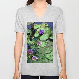 Blissful Water Lilies. Nymphaea Amplia. Common name in Venezuela Lirio de Agua Unisex V-Neck