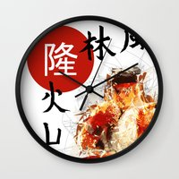street fighter Wall Clocks featuring Street Fighter II - Ryu by Carlo Spaziani