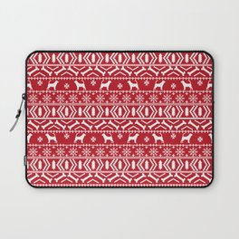 Bloodhound fair isle christmas sweater red and white minimal dog silhouette holiday gifts Laptop Sleeve