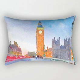 Rainy day in London Watercolor Painting Print Rectangular Pillow